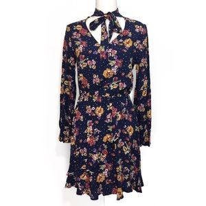 NWOT Navy Blue Floral Long Sleeved Dress Pussybow